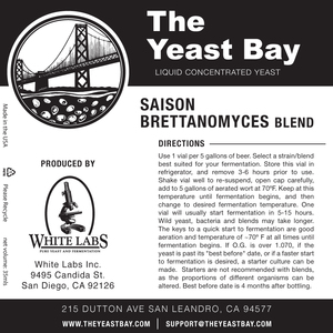 Yeast Bay Saison/Brettanomyces Blend 4626 Best Before Oct 16